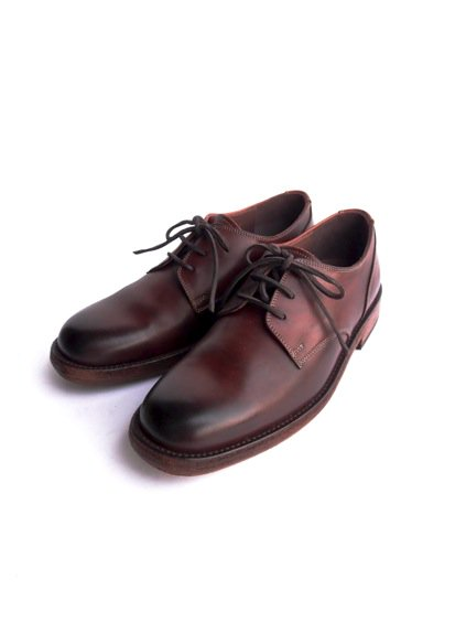 LEATHER&SILVER MOTO PLANE TOE OXFORD SHOES(BROWN)