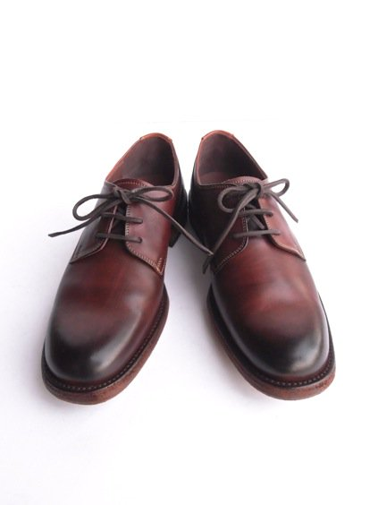 LEATHER&SILVER MOTO PLANE TOE OXFORD SHOES(BROWN)2