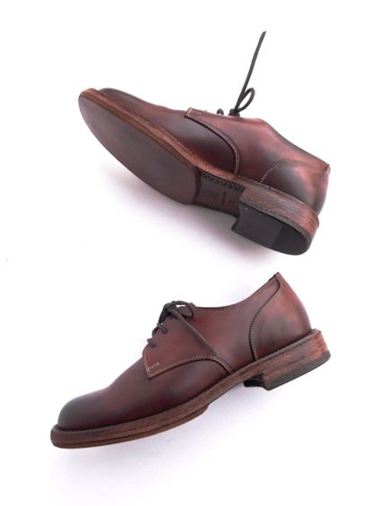 LEATHER&SILVER MOTO PLANE TOE OXFORD SHOES(BROWN)3