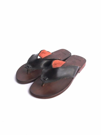 LEATHER&SILVER MOTO LEATHER TONG SANDAL(BLACK)