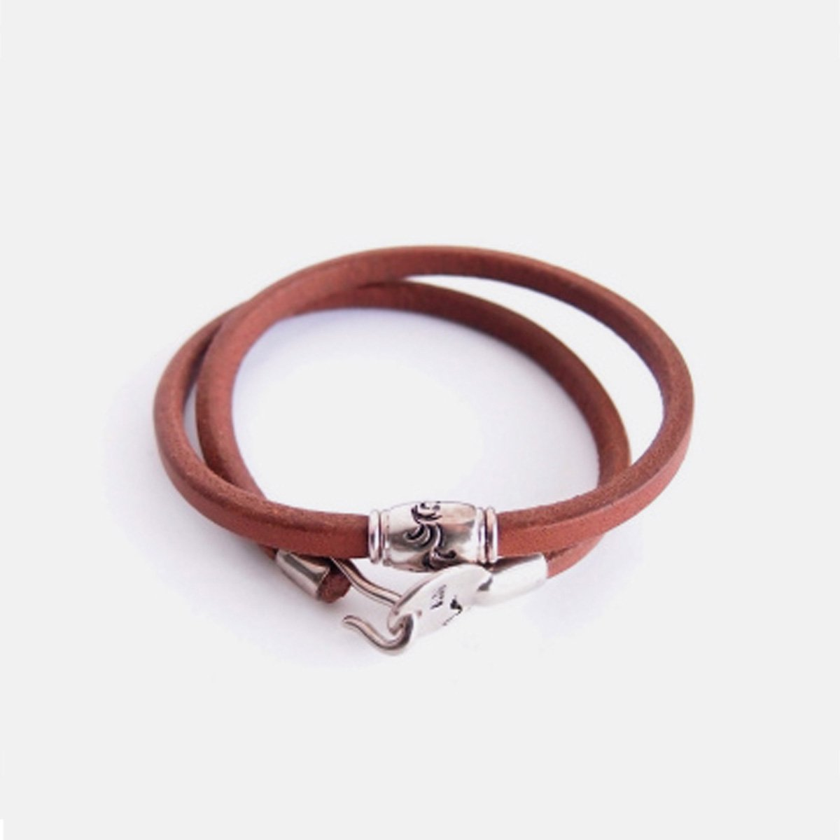 MOTO 2連LEATHER BRACELET  (BROWN)