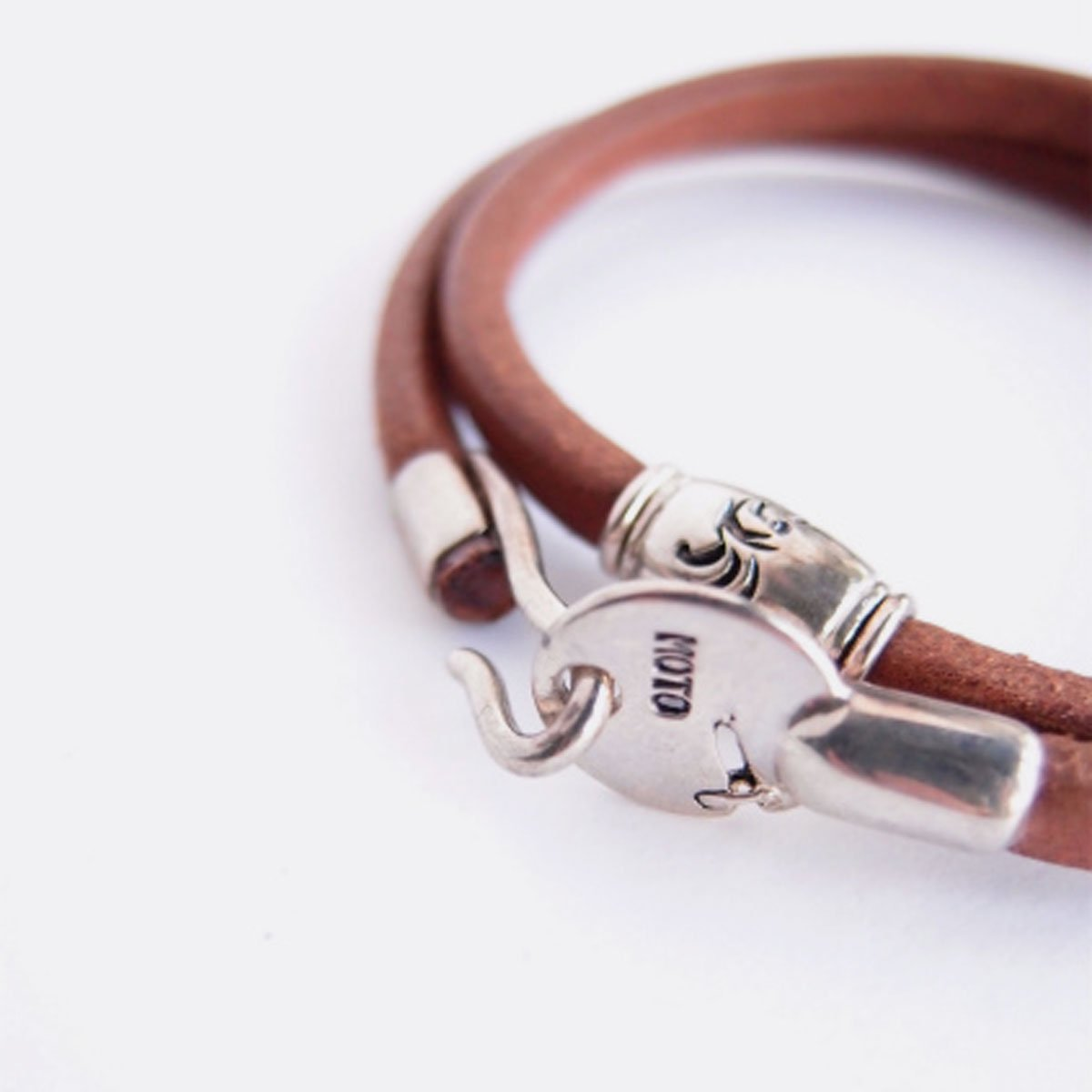 MOTO 2連LEATHER BRACELET  (BROWN)2