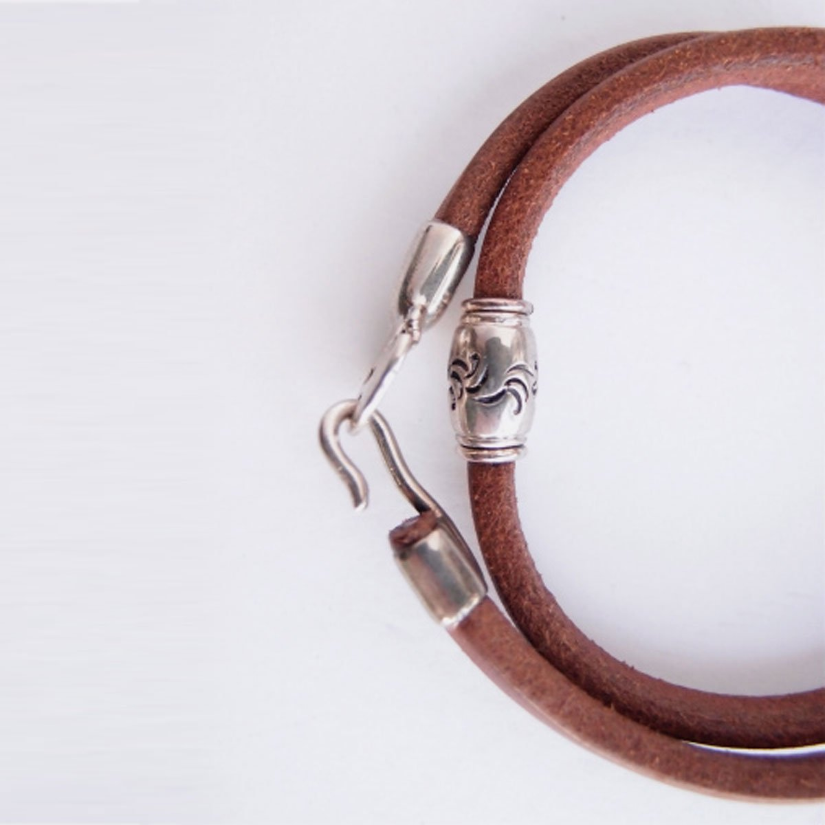 MOTO 2連LEATHER BRACELET  (BROWN)3