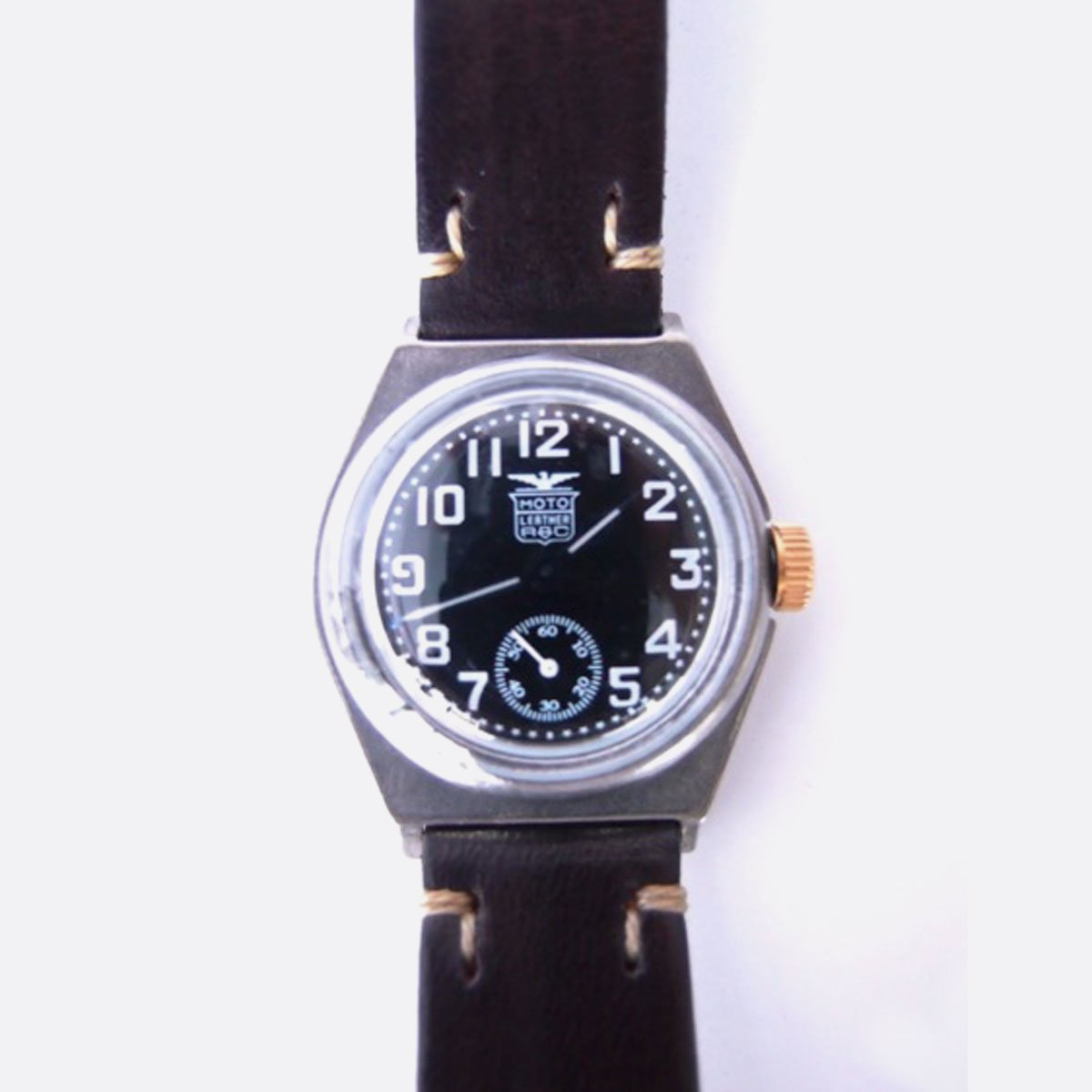 MOTO MILITARY WATCH with LEATHER BELT (黒文字盤×D.BROWN)