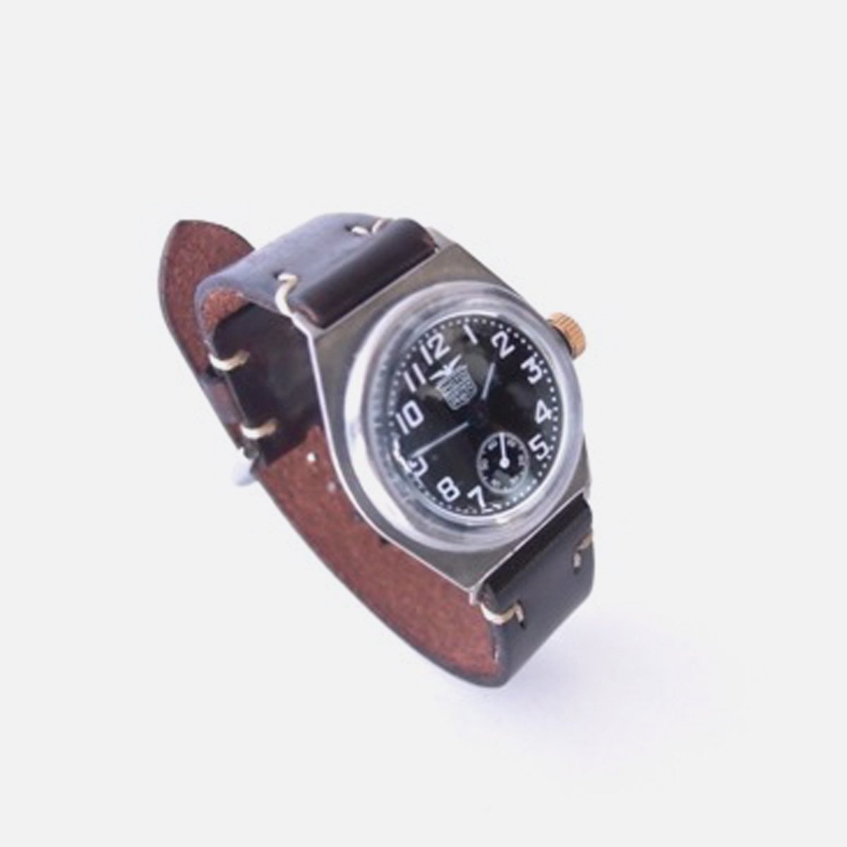 MOTO MILITARY WATCH with LEATHER BELT (黒文字盤×D.BROWN)2