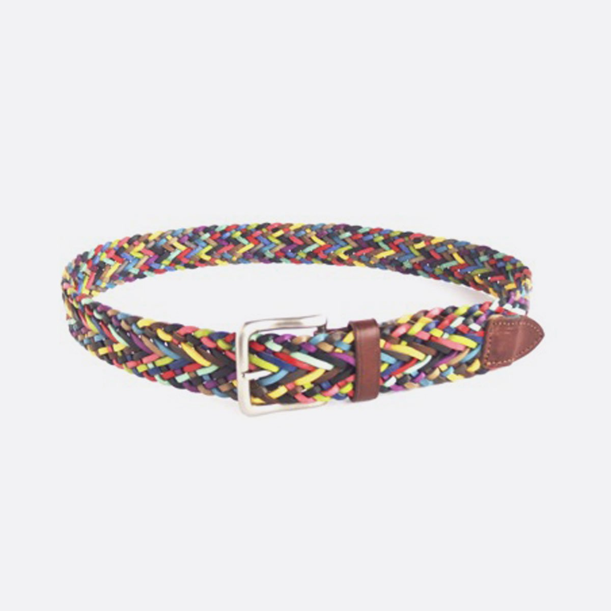 NEPENTHES LONDON MULTI COLOR LEATHER MESH BELT(MULTI)