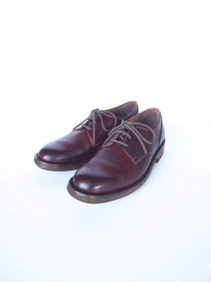LEATHER&SILVER MOTO PLANE TOE OXFORD SHOES(BURGUNDY)