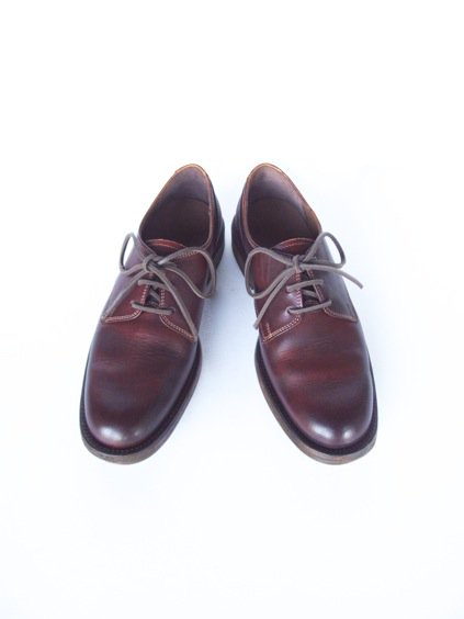 LEATHER&SILVER MOTO PLANE TOE OXFORD SHOES(BURGUNDY)3