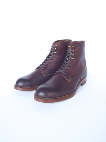LEATHER&SILVER MOTO CORDVAN PLANE TOE LACE UP SHOES (BURGUNDY)