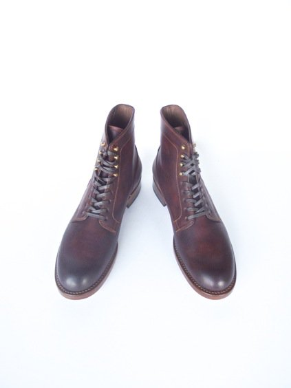 LEATHER&SILVER MOTO CORDVAN PLANE TOE LACE UP SHOES (BURGUNDY)4