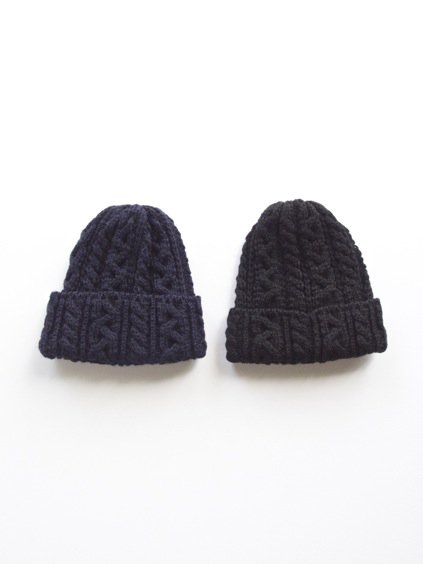 HIGHLAND2000 BRITISH WOOL BOB CAP cable(NAVY)(BLACK)