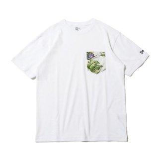 NEW ERA/半袖 コットン ポケット Tシャツ ボタニカル ホワイト レギュラーフィット