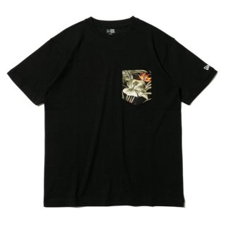 NEW ERA/半袖 コットン ポケット Tシャツ ボタニカル ブラック レギュラーフィット