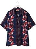 Robes & Confections / ローブスコンフェクションズ レーヨンフラワーストライププリント半袖シャツ