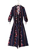 Robes & Confections / ローブスコンフェクションズ レーヨンフラワーストライププリントシャツワンピ