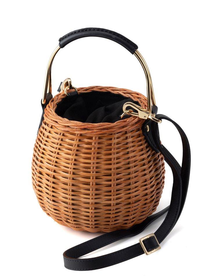 VIOLAd'ORO / ヴィオラドーロ MIRO / スプリットラタンゴールドハンドル バケツ型かごバッグ