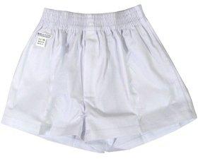 ショートパンツ 布素材(布帛) 前ファスナー型 (白) 110~140 【2枚までメール便対応】