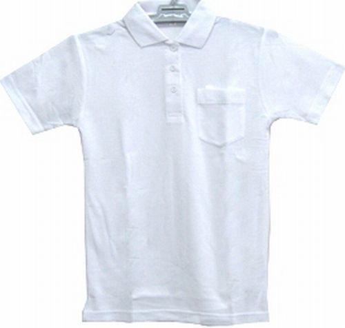 制服鹿の子ポロシャツ半袖(白)男女兼 スクールポロシャツ(綿50%)100A~160A【メール便対応】