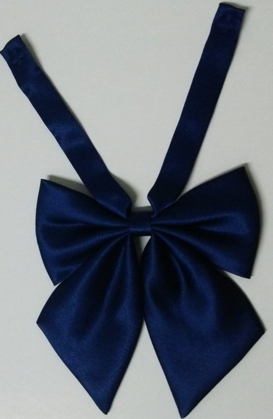 制服・セーラー服リボン スナップ付き 青色(ネイビー)