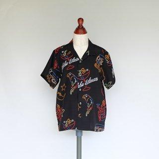 """Aloha Blossom """" Neon """" Kids Aloha Shirts / Black"""