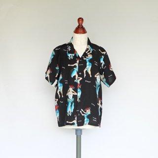 """Aloha Blossom """" Hula Girl """" Kids Aloha Shirts /  Black"""