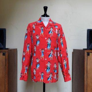 "Aloha Blossom "" Hula Girl "" Long Sleeve / Red"