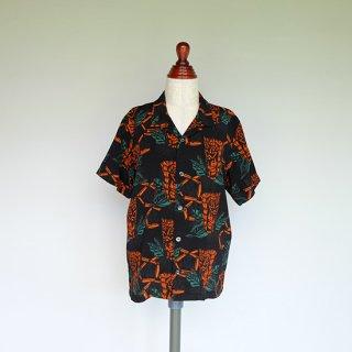"""Aloha Blossom """" Tiki """" Kids Aloha Shirts / Black"""