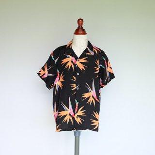 """Aloha Blossom """" Birds Of Paradise """" Kids Aloha Shirts / Black"""