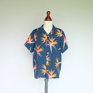 """Aloha Blossom """" Birds Of Paradise """" Kids Aloha Shirts / Navy"""