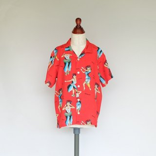 """Aloha Blossom """" Hula Girl """" Kids Aloha Shirts /  Red"""
