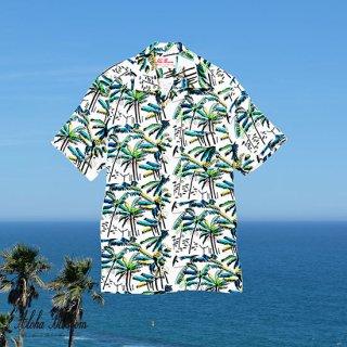 """Aloha Blossom """" Palm Tree """" Aloha Shirts /  White"""