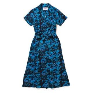 """Aloha Blossom """" Palm Tree """" Shirt Dress /  black"""
