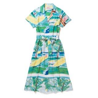 "Aloha Blossom "" Summer Time "" Shirt Dress"
