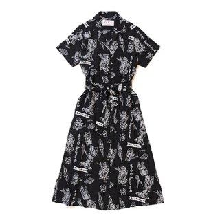 "Aloha Blossom "" Lucky "" Shirt Dress / Black"