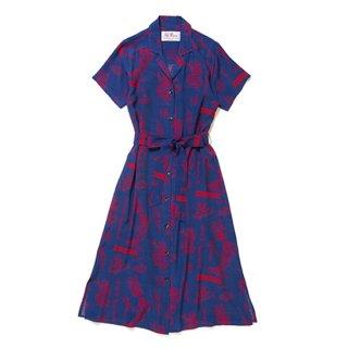 "Aloha Blossom "" Lucky "" Shirt Dress / Navy"