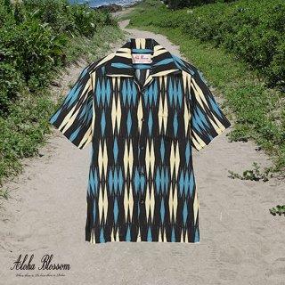 """Aloha Blossom """" Minsa Argyle"""" Aloha Shirts / Black Blue"""