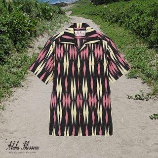 """Aloha Blossom """" Minsa Argyle"""" Aloha Shirts / Black Pink"""