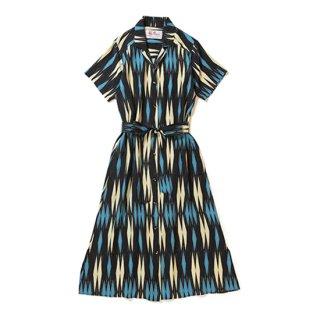 """Aloha Blossom """" Minsa Argyle """" Shirt Dress / Black Blue"""