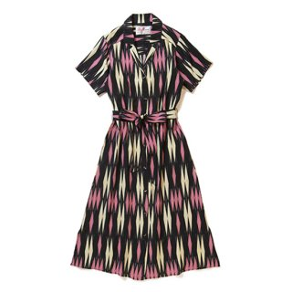 "Aloha Blossom "" Minsa Argyle "" Shirt Dress / Black Pink"
