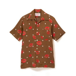 "Aloha Blossom "" Kiss "" Aloha Shirts / Brown (10th Anniversary Limited Item)"