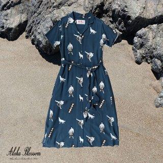"Aloha Blossom "" Chiyonofuji "" Shirts Dress / Navy (10th Anniversary Limited Item)"