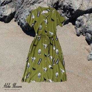 "Aloha Blossom "" Chiyonofuji "" Shirts Dress / Khaki (10th Anniversary Limited Item)"