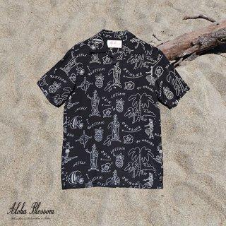 """Aloha Blossom """" Hawaiian """" Aloha Shirts / Black White (10th Anniversary Limited Item)"""