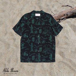 """Aloha Blossom """" Hawaiian """" Aloha Shirts / Black Green (10th Anniversary Limited Item)"""