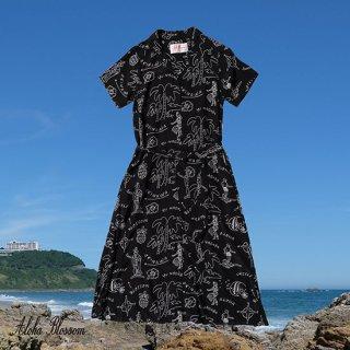 "Aloha Blossom "" Hawaiian "" Shirts Dress / Black White (10th Anniversary Limited Item)"
