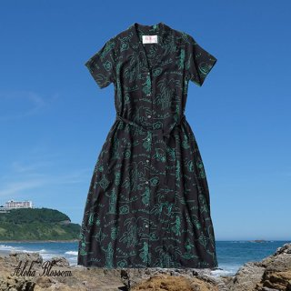 "Aloha Blossom "" Hawaiian "" Shirts Dress / Black Green (10th Anniversary Limited Item)"