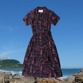 "Aloha Blossom "" Hawaiian "" Shirts Dress / Black Pink (10th Anniversary Limited Item)"
