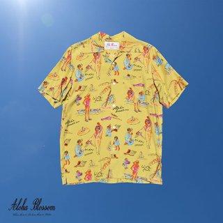 """Aloha Blossom """" Ryukyu Souvenir"""" Aloha Shirts / Lemon (10th Anniversary Limited Item)"""