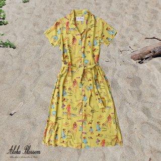"""Aloha Blossom """" Ryukyu Souvenir"""" Shirts Dress / Lemon (10th Anniversary Limited Item)"""