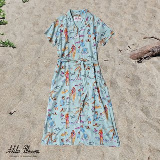 "Aloha Blossom "" Ryukyu Souvenir"" Shirts Dress / Mint (10th Anniversary Limited Item)"
